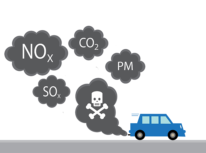 main diesel exhaust pollutants from a car